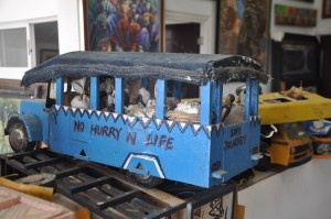 An ingenious art form - a typical Nigerian bus made from scrap metal, on display in a Lagos gallery